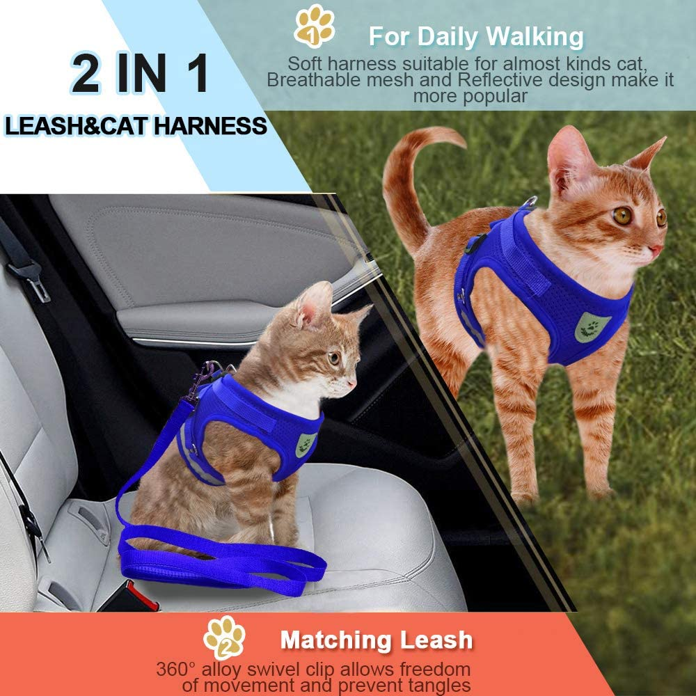 Supet Imbracatura per Gatti con Guinzaglio Gilet Riflettente in Nylon Morbido per Cani da Passeggio per Cani da Corsa Adatto a Gatti Cuccioli Piccoli Animali Domestici