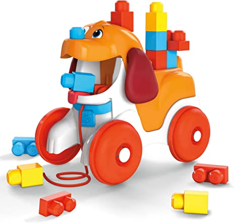 Mega Bloks Pull-Along Puppy Preschool Building Set with Block Pooping, Multi (GNW63)