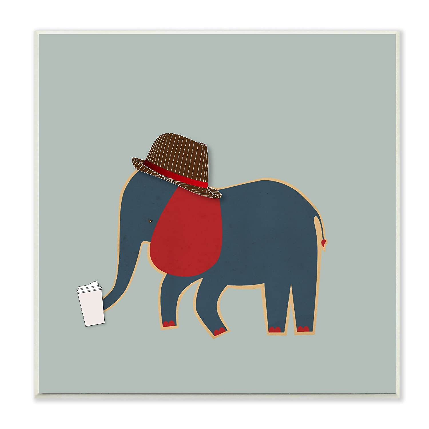 Stupell Home Décor Hipster Elephant with Fedora Wall Plaque Art, 12 x 0.5 x 12, Proudly Made in USA Stupell Industries brp-1950_wd_12x12