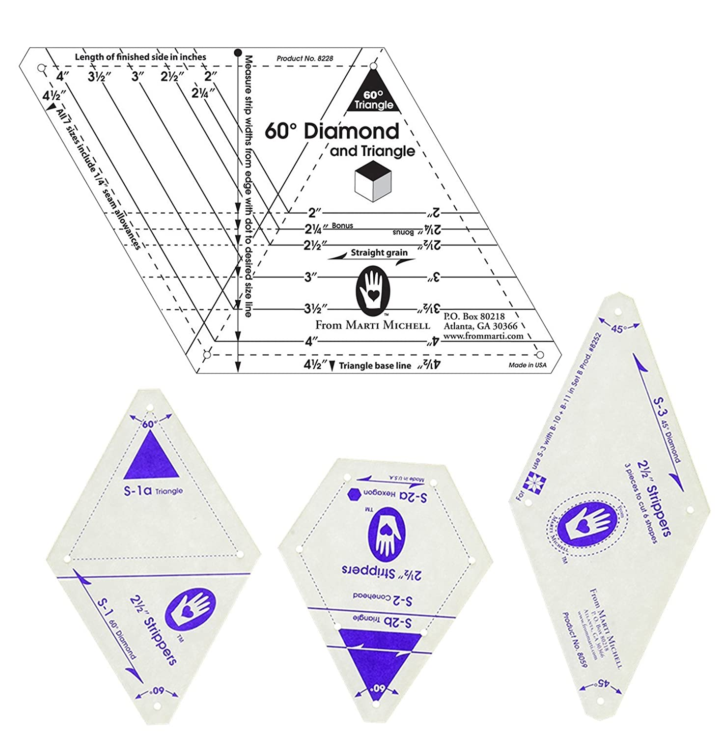 Marti Michell Quilting Templates Bundle - 2 Items: 2 ½-Inch Strippers Templates and One-Derful One Patch 60-Degree Diamond and Triangle Template