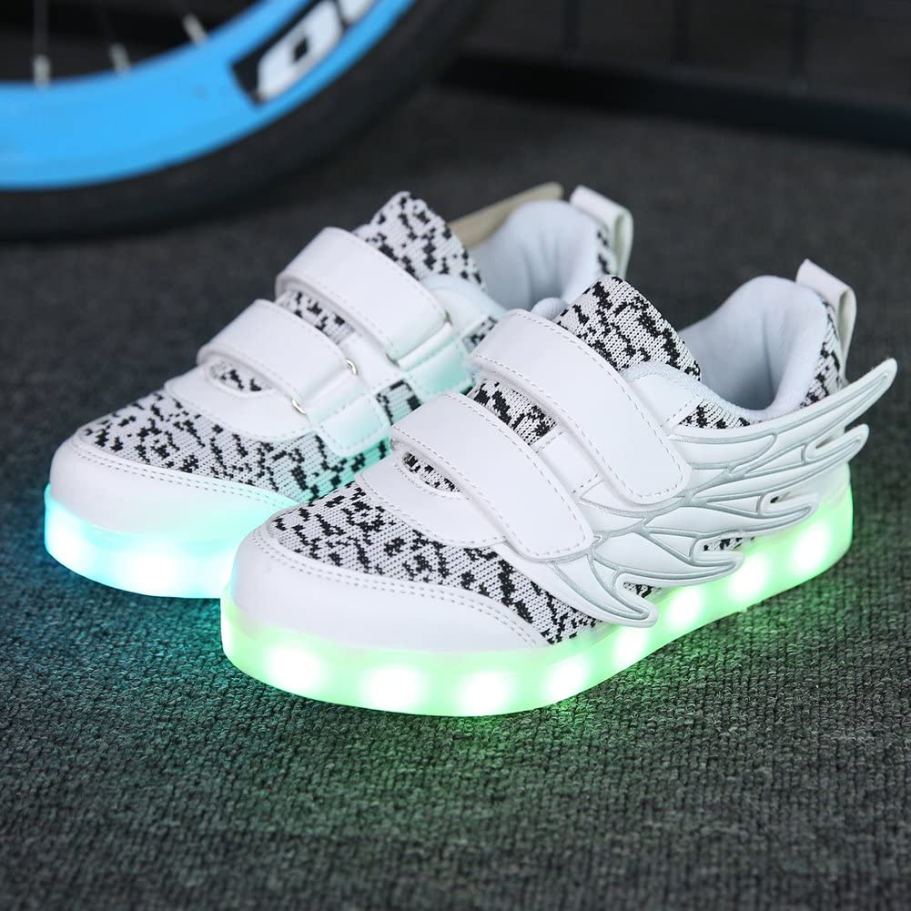 Sweeting LED Childrens Shoes Light Shoes Boy Colorful Luminous Girls Wings Magic Stickers Shoes