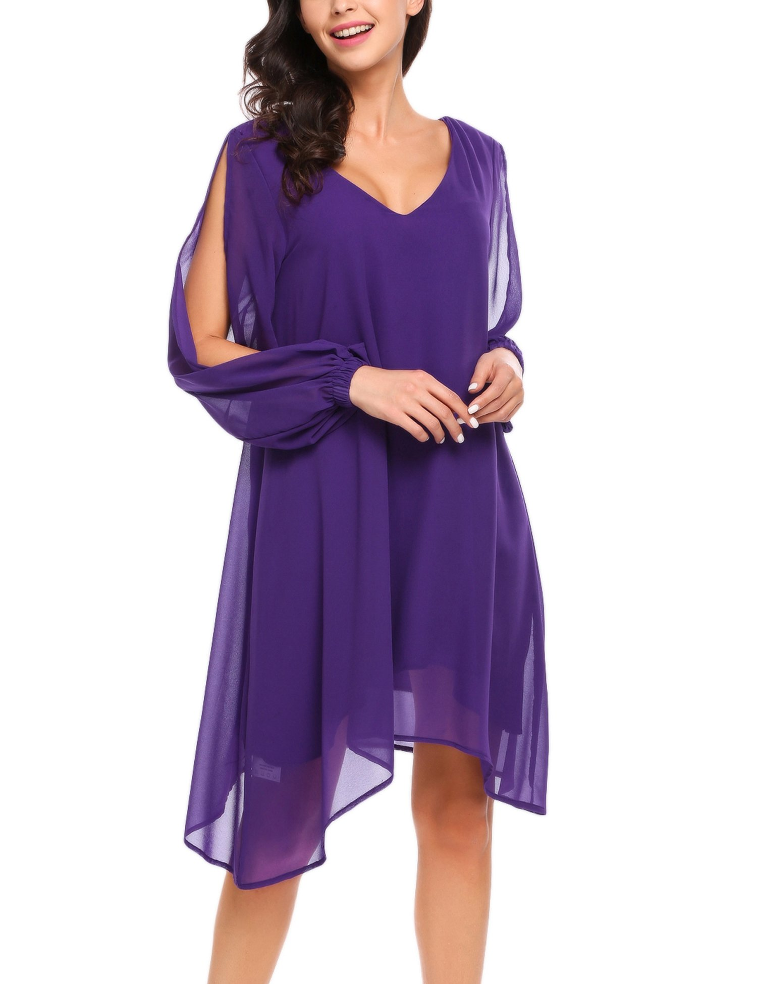 Women Loose Dress Beach Casual Dress Cut-off Long Sleeve V-neck Asymmetric Hem Chiffon Zeagoo,Purple,Small