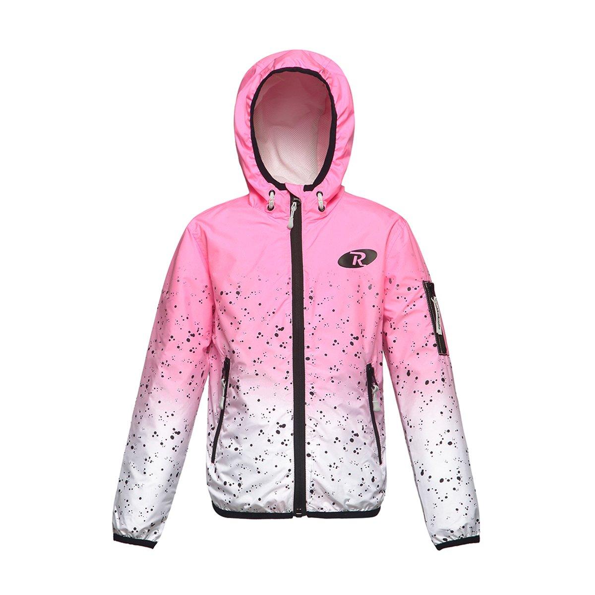 Rokka&Rolla Girls' Lightweight Water Resistant Zip-Up Hooded Windbreaker Jacket