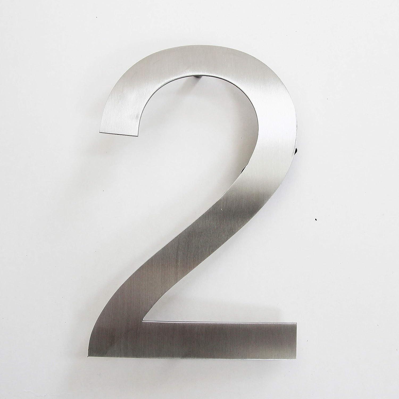 Número de calle en acero inoxidable para atornillar, altura 15,5 cm, número de casa, número de puerta de diseño (2)