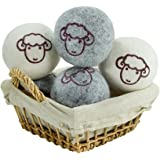 All Natural Wool Dryer Balls Organic Fabric Softner Reusable Reduce Wrinkle Quicker Drying Time Anti-Static Large Clothes Drying Ball, 6 Pack (Grey and White)