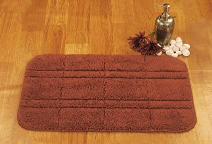 Buy Bianca Bricks Micro Fiber Rubber Backing Bath Mat Rust Online