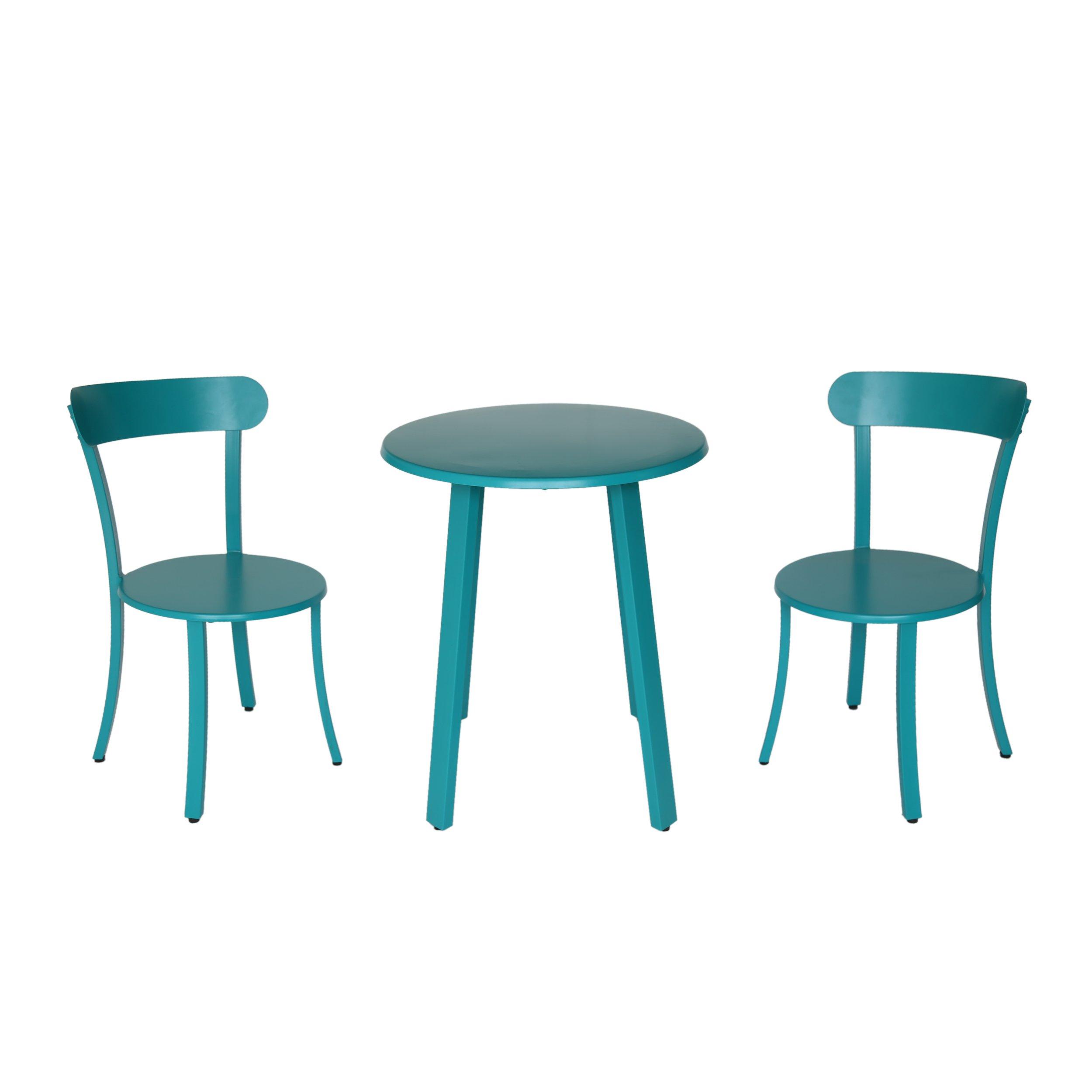 Great Deal Furniture 304958 Kelly Outdoor Bistro Set, Matte Teal