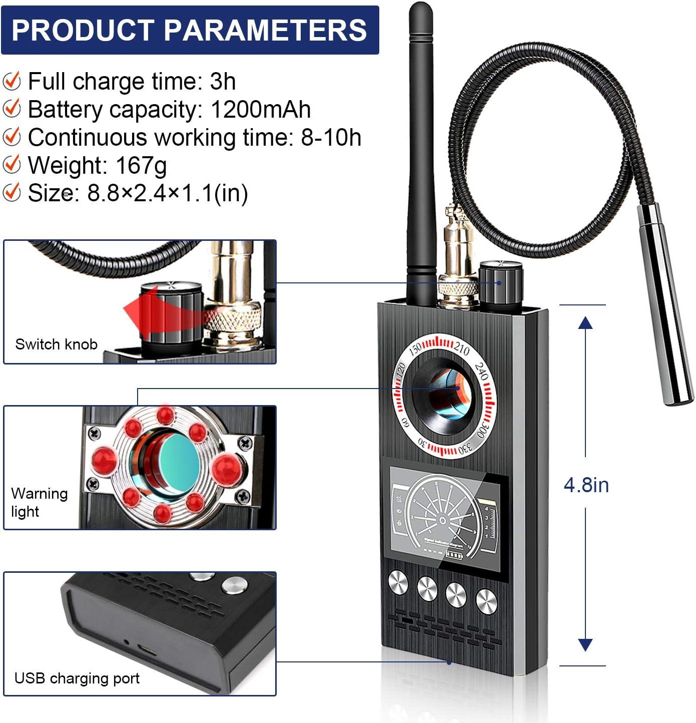 Latest Professional Version Anti-Spy Wireless RF Signal Detector Bug GPS Camera Signal Detector,Detection GPS Tracker Hidden Camera Eavesdropping Device Signal Detector