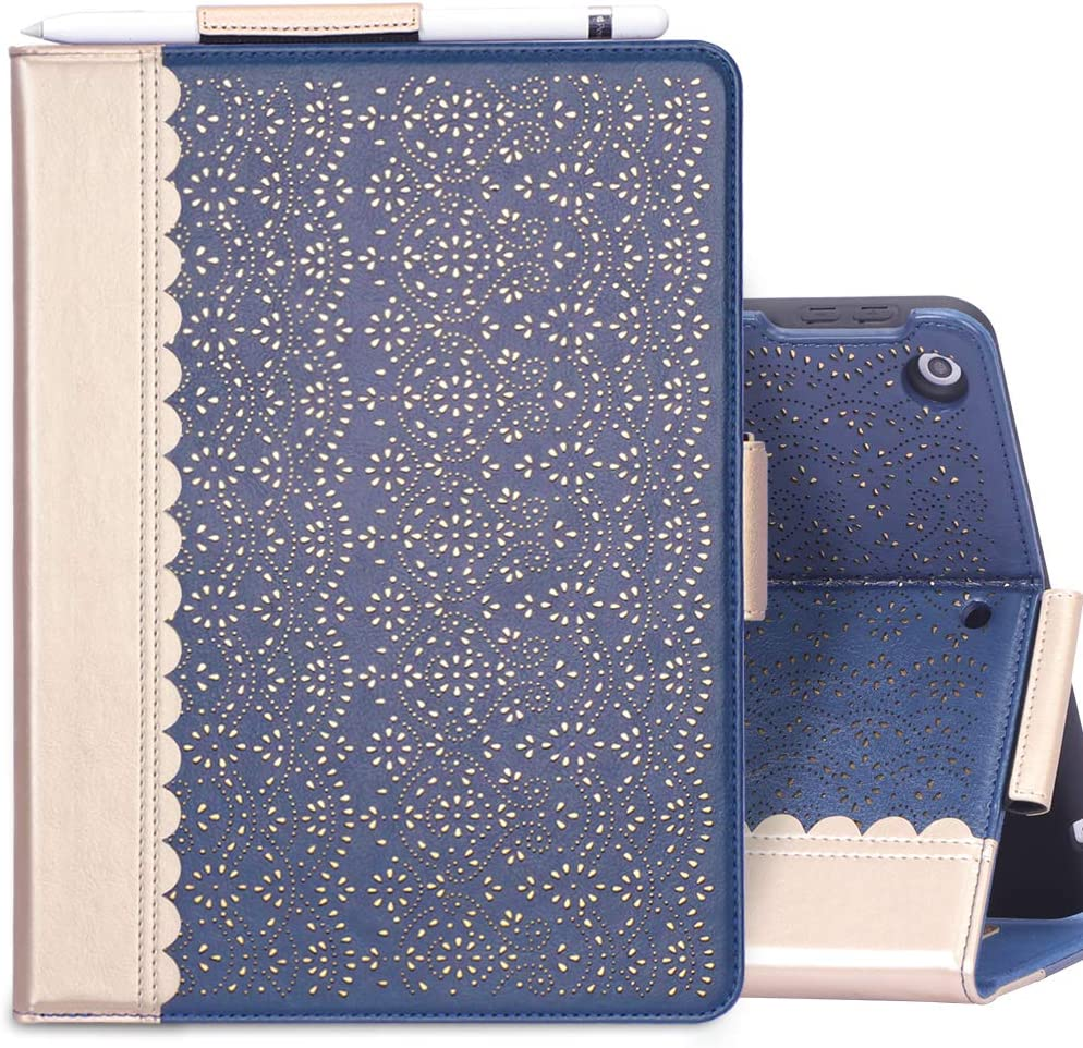 "WWW Case for New iPad 8th Gen (2020) / 7th Generation (2019) 10.2"",[Luxury Laser Flower] Case with [Apple Pencil Holder] [Auto Wake/Sleep] for iPad 10.2 inch 8th Generation /7th Generation Blue"