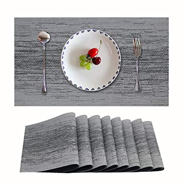 Candumy Gray Table Mats Set of 8 Washable PVC Placemats for Dining Table,Stain Resistant Anti Slip Insulation Woven Vinyl Kitchen Place Mat for Thanks Giving Holiday(8Pcs,Gray)