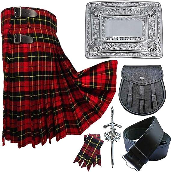 Scottish Solid Black 5 Yard Highland Tartan Kilt 4 Pcs Set With Accessories