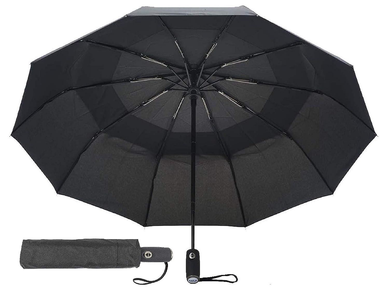 tatji Travel Umbrella Windproof Compact Reinforced Double Canopy Auto Open Close 10 Ribs 210T Teflon Fabric