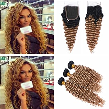 Human Hair Weaves Brazilian Bundles With Closure #27 Honey Blonde Color Human Hair Weave 3 Bundles Curly Hair Extensions With 4x4 Lace Closure