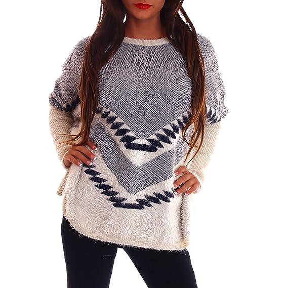 f090a024d9e8 Sexy Damen Flauschiger Weicher Pullover Oversize-Look Strickpullover Gr XS-L  (One Size