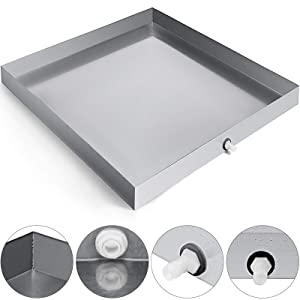"VEVOR 32""x 32"" Washing Machine Drip Pan 304 Stainless Steel Heavy Duty Compact Washer Machine Drip Pan With Hole"