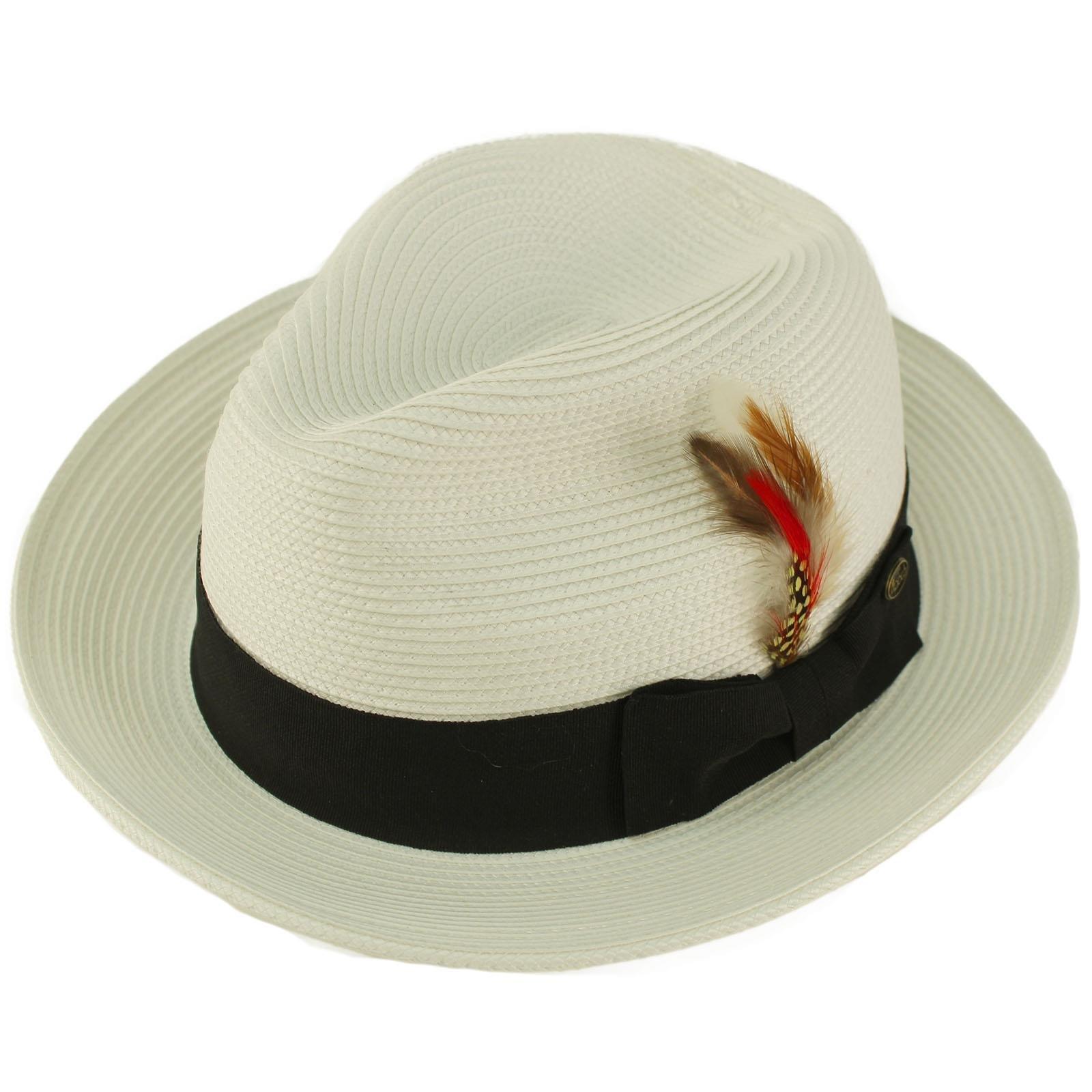 Epoch Men's Handsome Feather Derby Fedora Tall Crown Upturn Curl Brim Hat L/XL