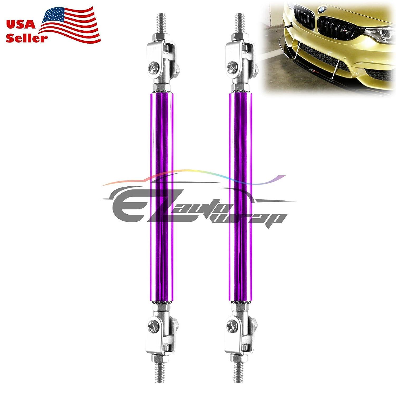 EZAUTOWRAP Neo Chrome 6-8 Adjustable Front//Rear Frame Bumper Lip Splitter Strut Rod Support Bar
