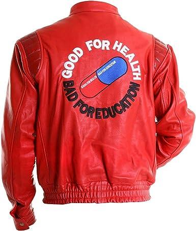 Amazon Com Ugfashions Akira Kaneda Jacket Capsule Pill Logo Red Bomber Motorcycle Rider Leather Costume Cosplay Clothing