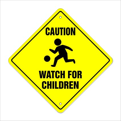 amazon com caution watch for children crossing sign zone xing
