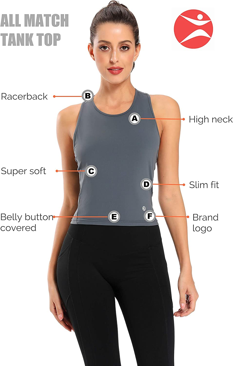 Yoga Shirts Racerback Crop Tops Athletic Exercise Gym Running Training Tanks Active Wear Evobak Workout Tops for Women