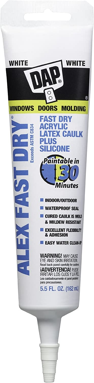 Dap 11425 Alex Plus Fast Dry Acrylic Latex Caulk Plus Silicone, 5.5-Ounce Tube, White