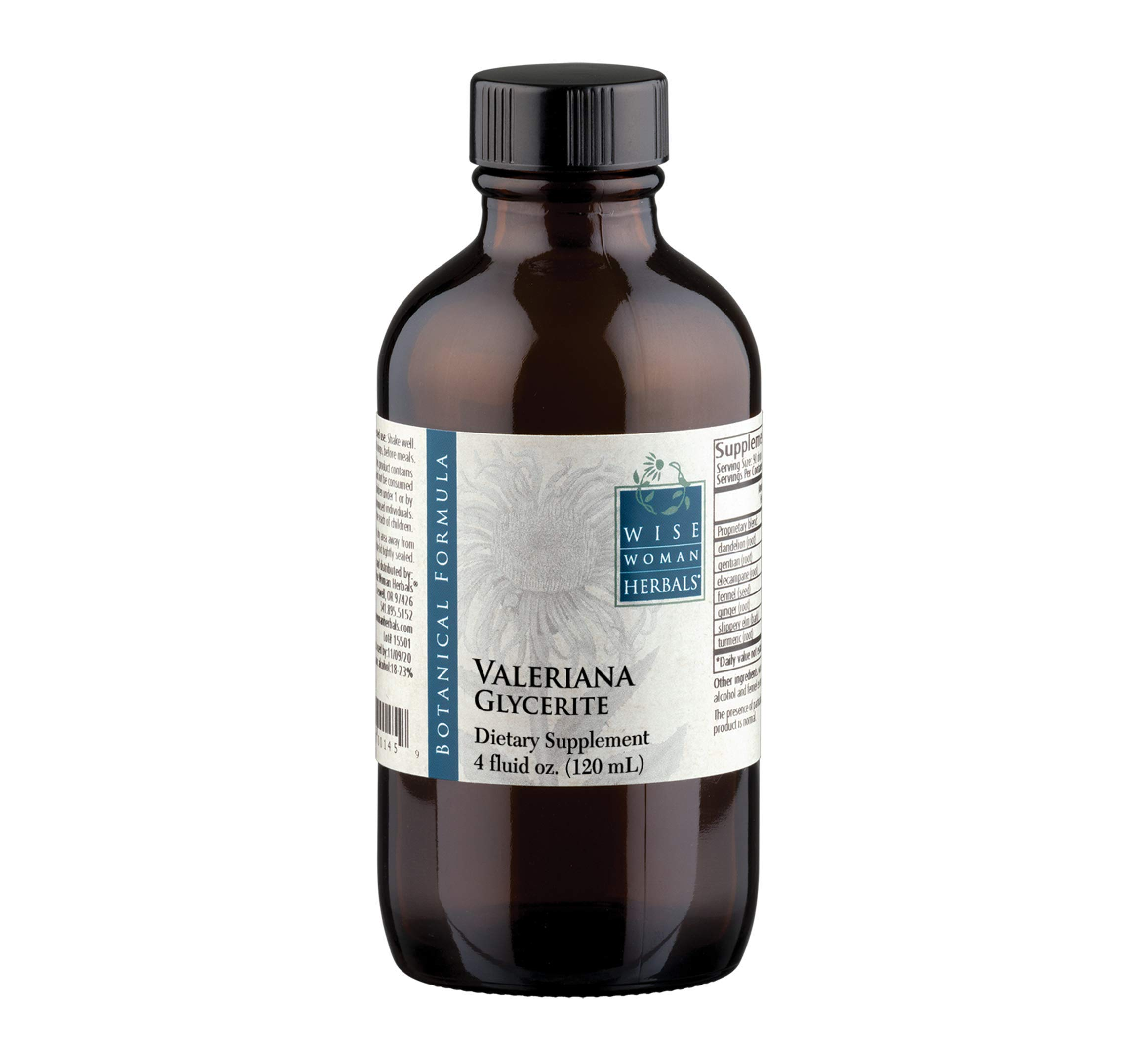 Wise Woman Herbal - Valeriana Glycerite - 4 fl oz Valerian Root Herb, All-Natural Sleep Aid Supports a Healthy Restful Sleep, Calm and Relaxation, Natural Relaxant Ease Mild Muscle Tension