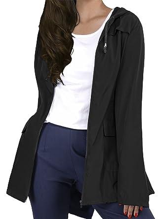 1ac587d9265ab HENCY Veste Imperméable à la Taille, Veste De Pluie Femme Manteau Blouson à  Capuche Coupe
