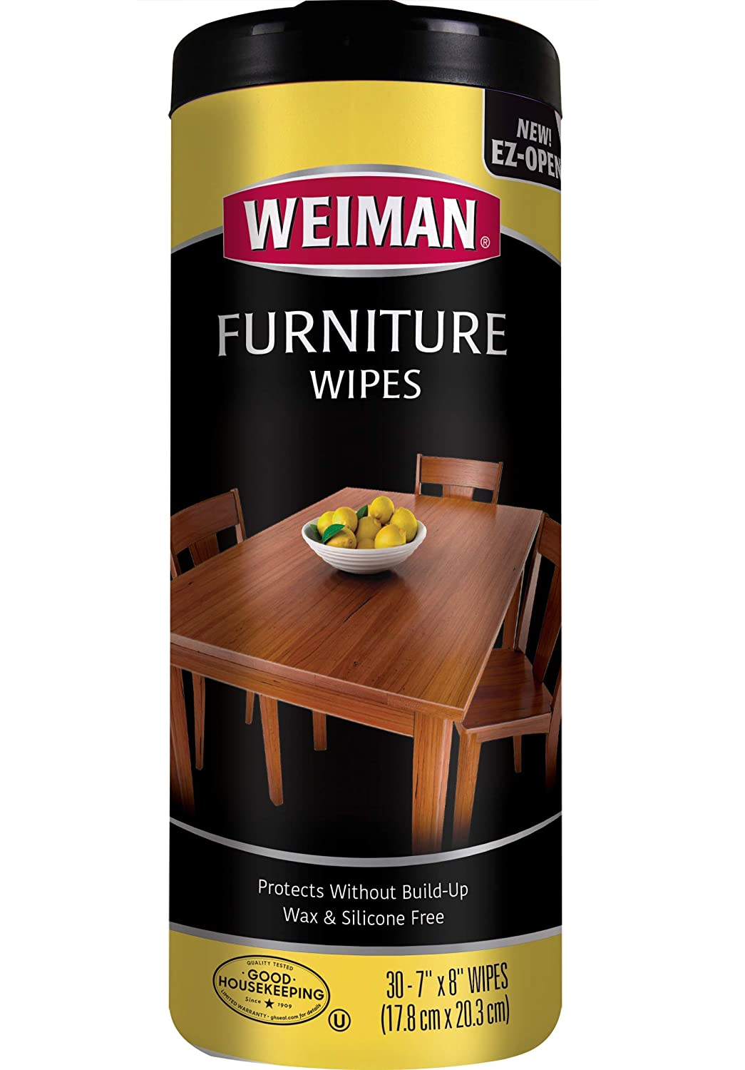 Weiman Wood Cleaner and Polish Wipes - Non Toxic For Furniture To Beautify  & Protect, No Build-Up, Contains UVX-10, Pleasant Scent, Surface Safe - 10
