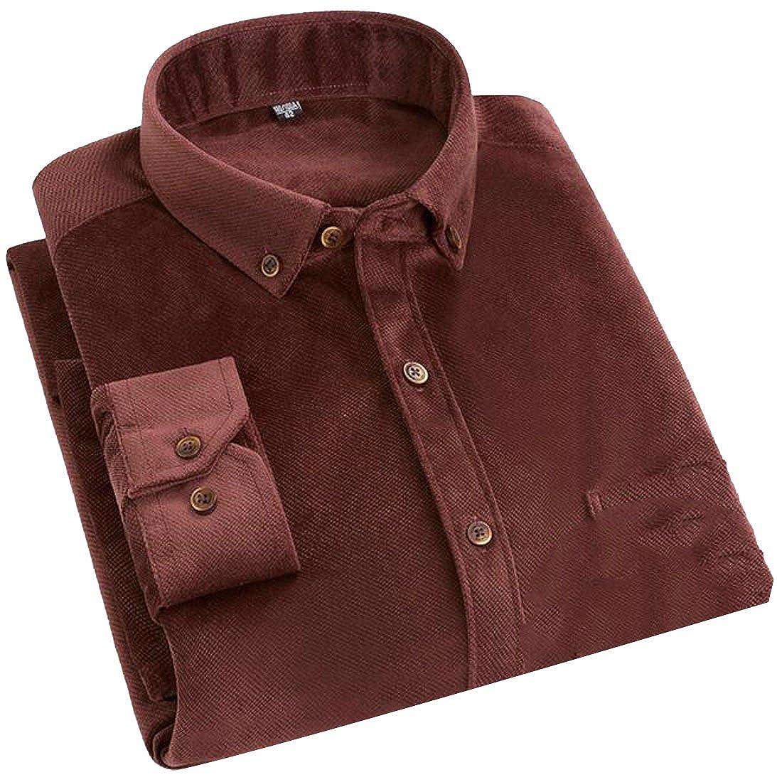 Papijam Mens Classic Long Sleeve Corduroy Button Down Workwear Shirts Light Pink X-Large