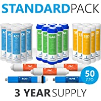 Express Water FLTSETS6C6G6I3M502 Reverse Osmosis RO Replacement Filter Cartridges Post Inline Carbon + 50 GPD Membrane + Granular Activated + CTO, Coconut Shell (Pack of 23)