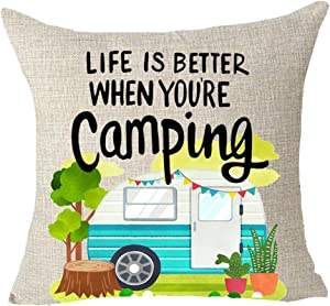 "FELENIW Life is Better When You are Camping Throw Pillow Cover Cushion Case Cotton Linen Material Decorative 18"" x 18'' inches"