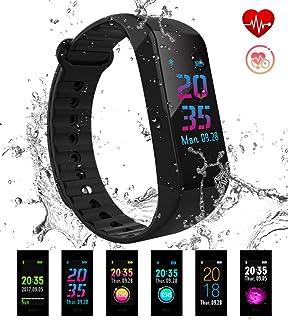 Pulsera Actividad Pulsera Inteligente de Deportiva Impermeable Presión Arterial IP67 Monitor de Pulso Calorías Sueño Pantalla
