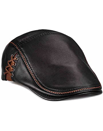 fbc3c6727ae99 LETHMIK Unique Flat Cap Hunting Cowhide Leather Driver Ivy Cap Newsboy Hat