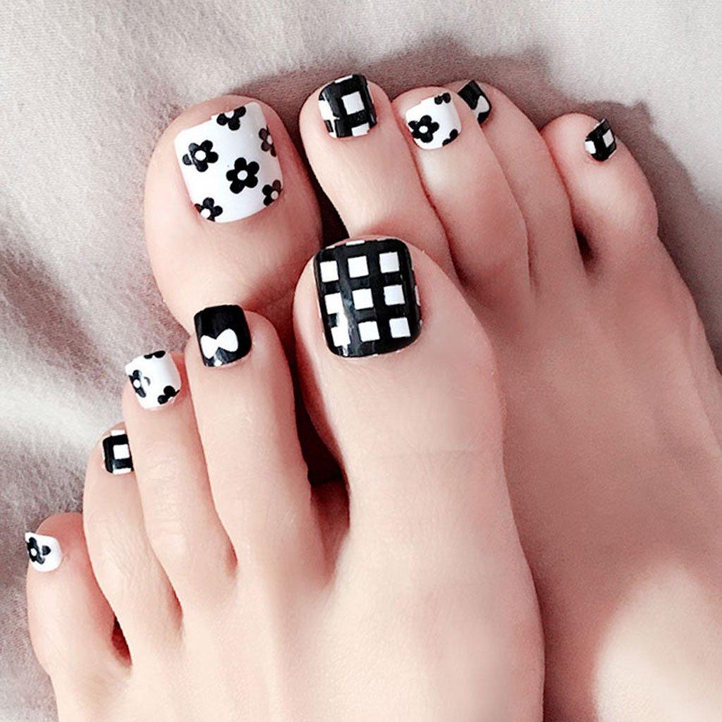 Amazon.com: Hukai 24Pcs Black White False Fake Artificial Toe Nails ...