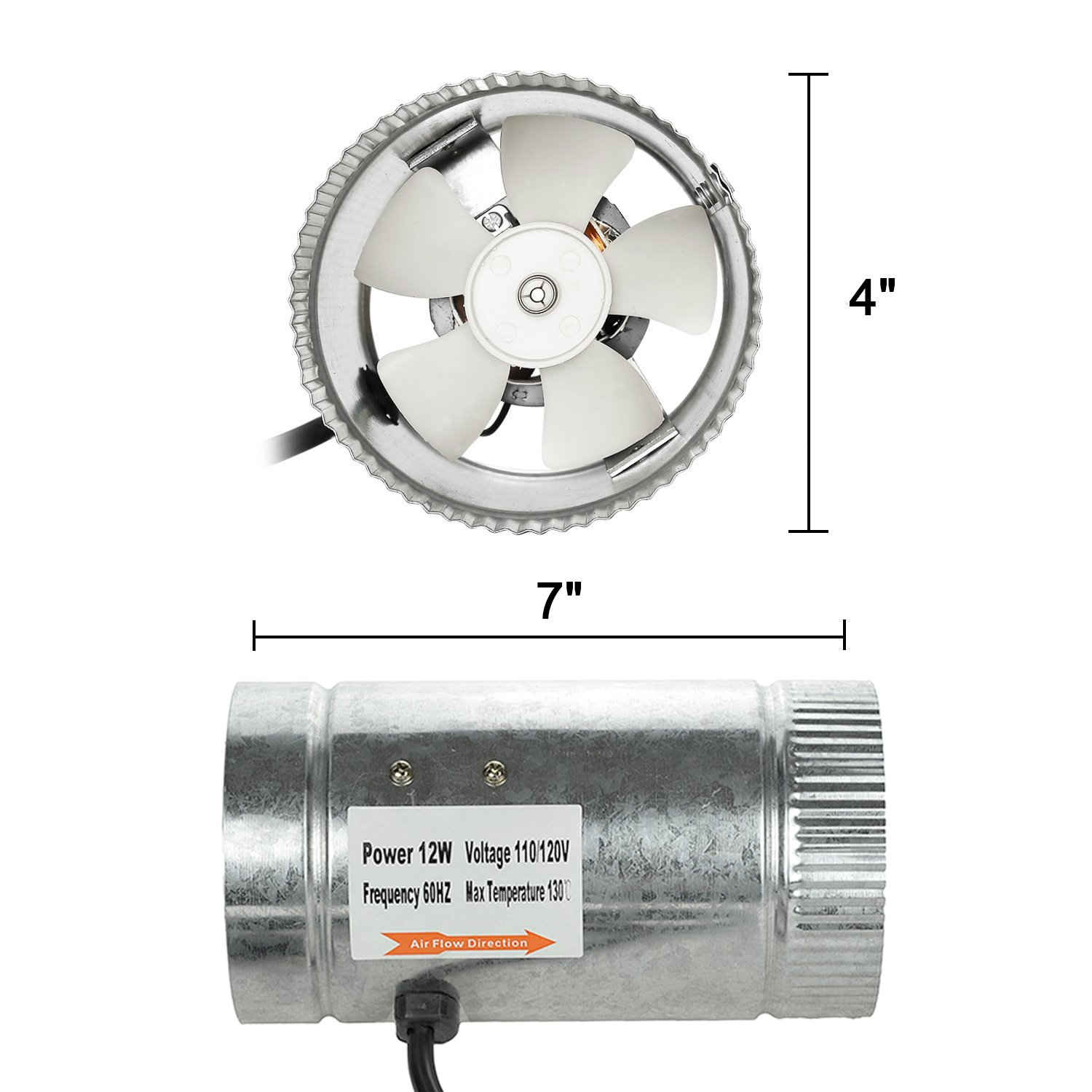 HiHydro 4'' Inline Duct Booster Fan 100 CFM, Low Noise & Extra Long 5.5' Grounded Power Cord (4''/100CFM) by HiHydro (Image #5)