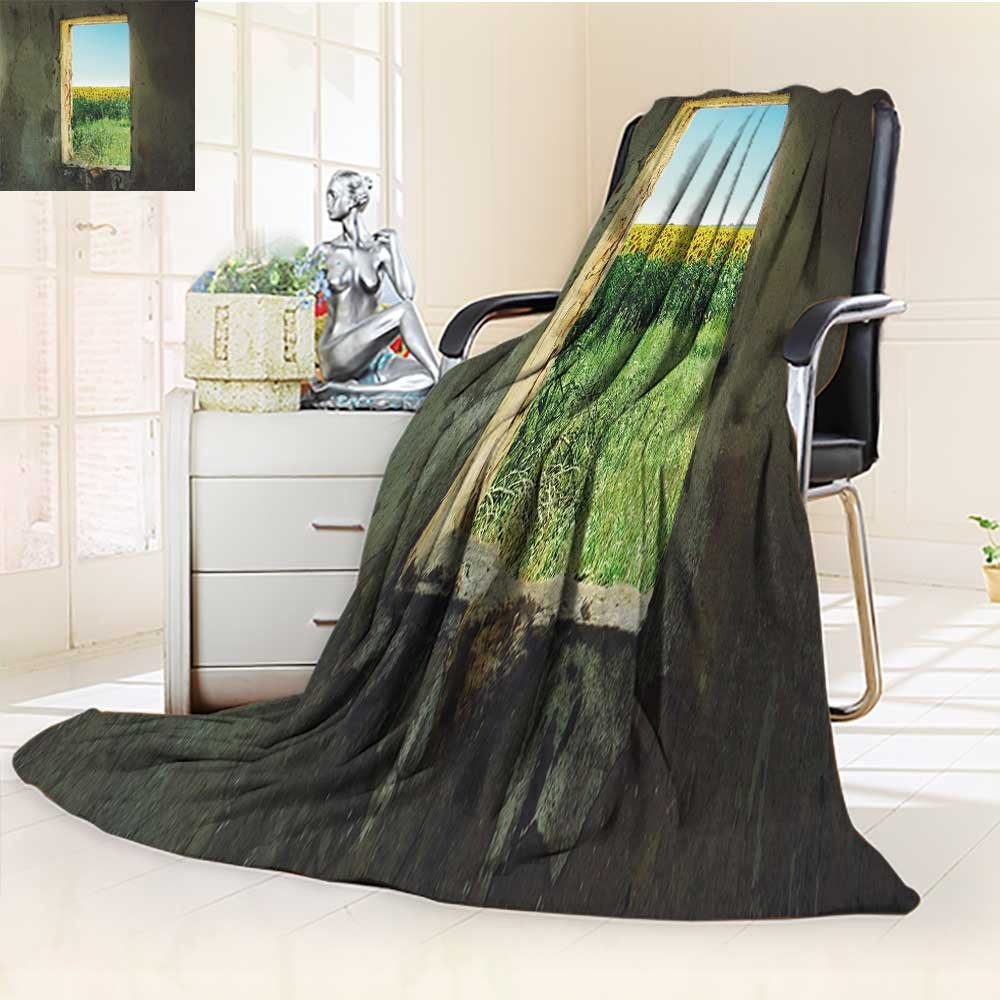 YOYI-HOME Digital Printing Duplex Printed Blanket Look at The Scenery Through The Window Warm Microfiber All Season Summer Quilt Comforter/79 W by 59'' H
