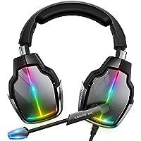 Cascos Gaming PS4, Giratorio de 90° y 4 Modos de Iluminación RGB Auriculares Gaming, Transductores 50mm, Micrófono con…