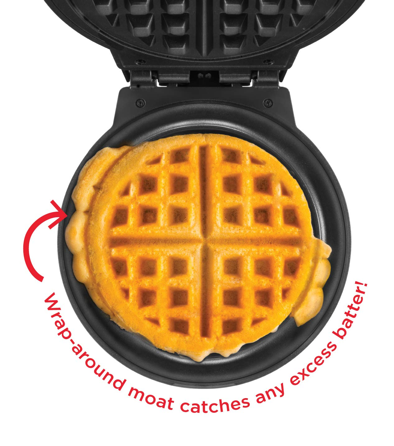 Chefman Anti-Overflow Belgian Maker w/Shade Selector & Mess Free Moat Round Waffle-Iron w/Nonstick Plates & Cool Touch Handle, Measuring Cup Included, Red by Chefman (Image #2)