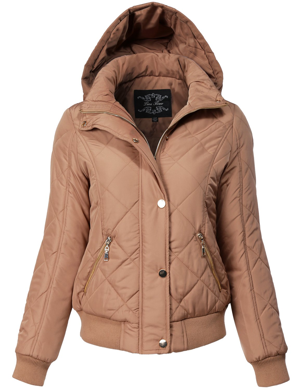 Warm Regular Fit Quilted Padding Bomber Jackets, 149-Mocha, Small