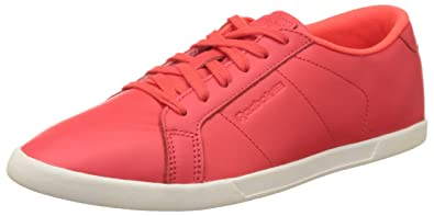 Red and White Leather Tennis Shoes