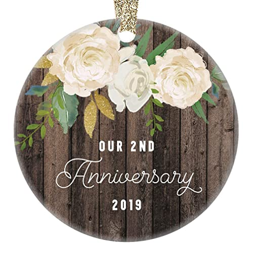 2nd Year Anniversary Gifts Our 2nd Married Christmas Ornament 2019 Wedding  Anniversaries Marriage Couple Him Her Keepsake 3