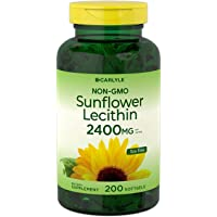 Sunflower Lecithin 2400mg | 200 Softgels | Rich in Phosphatidyl Choline | Non-GMO...