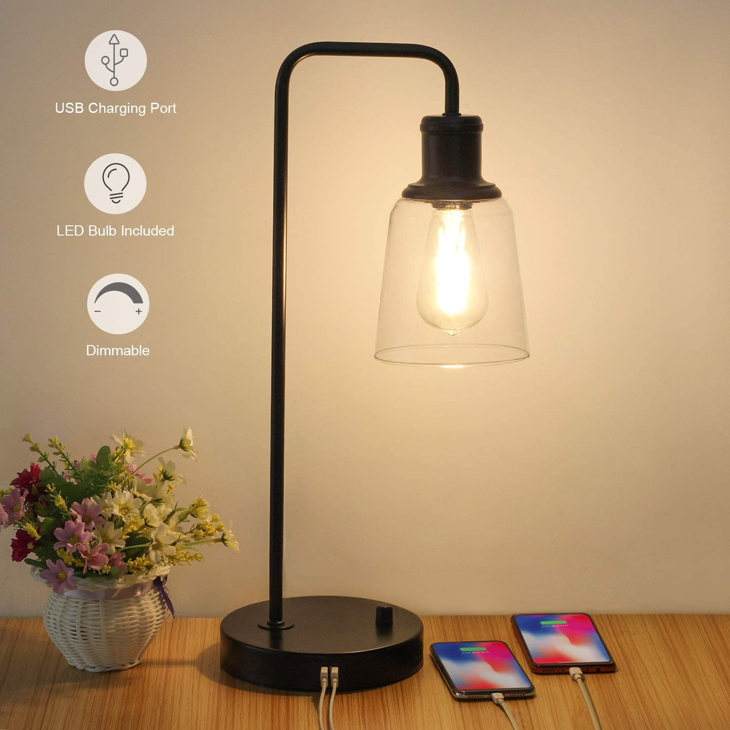 Glass Shade Desk Reading Lamp for Farmhouse Bedroom Living Room LED Edison Bulb Included 3 Way Dimmable Vintage Bedside Nightstand Lamp Dual USB Charging Ports Industrial Touch Control Table Lamp