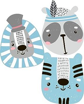 greenluup Öko Wandsticker Wandaufkleber Wandtattoo Tierköpfe Tiere Wanddeko  Kinderzimmer Babyzimmer Kinder Baby Mädchen Junge Tapetensticker (3 ...