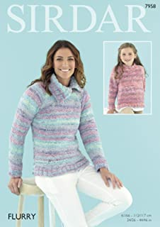 4652acb3d62fb Sirdar 7958 Knitting Pattern Women and Girls Cowl and Round Neck Sweaters  in Sirdar Flurry Chunky