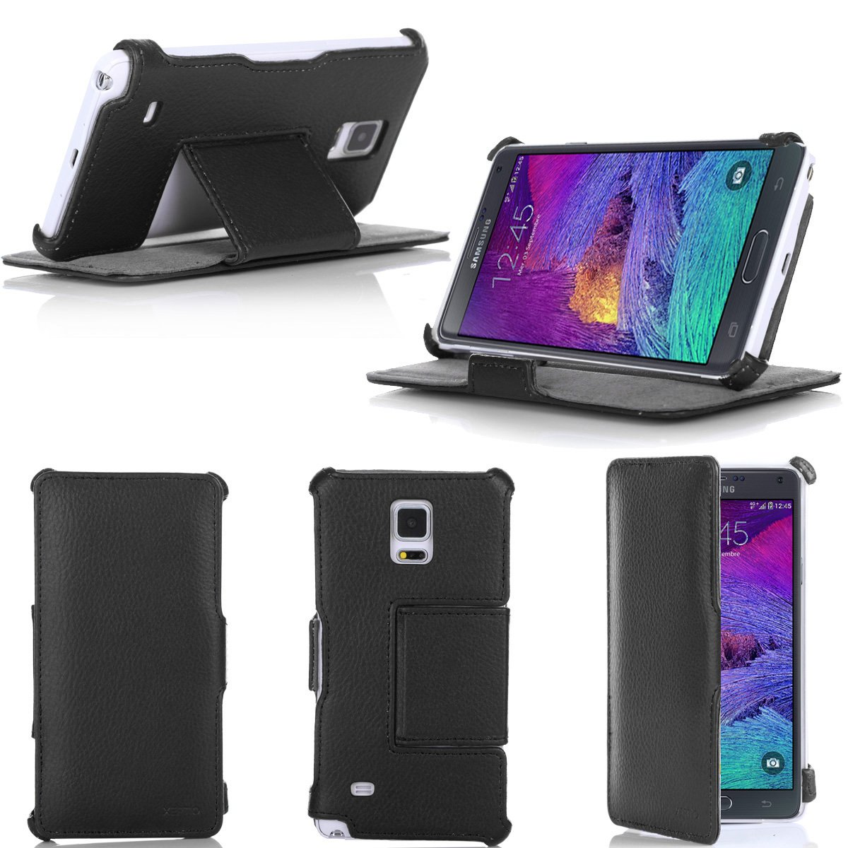 Etui Samsung Galaxy Note 4 N910C (Wifi   LTE   4G) noir 16 32 64 GB Cuir  Style avec stand  Amazon.fr  High-tech 6d848f338c9a