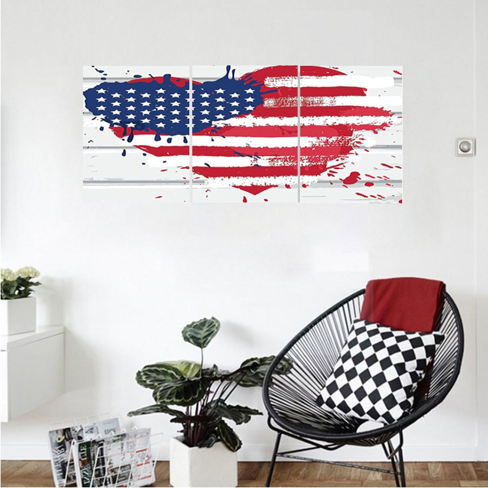Liguo88 Custom canvas Americana Decor Collection USA Flag in Heart Shape on Wood Wall Live Nation Holiday Splatter Grunge Style Print Bedroom Living Room Wall Hanging Cobalt Red