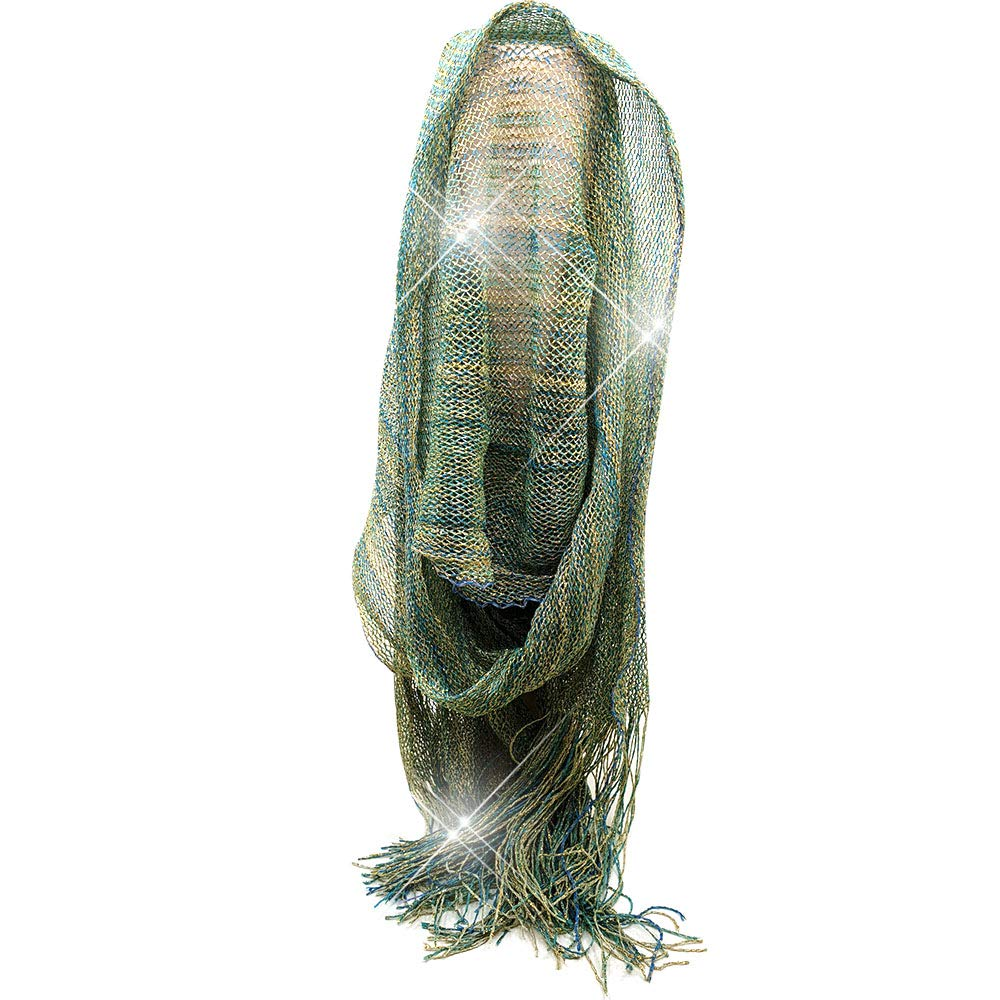 PearlyKelly greenmix sheer glitter sparkle wedding evening Scarfs Wedding dress scarf Shiny scarf and Evening Dresses scarf Fringes Scarf for Women