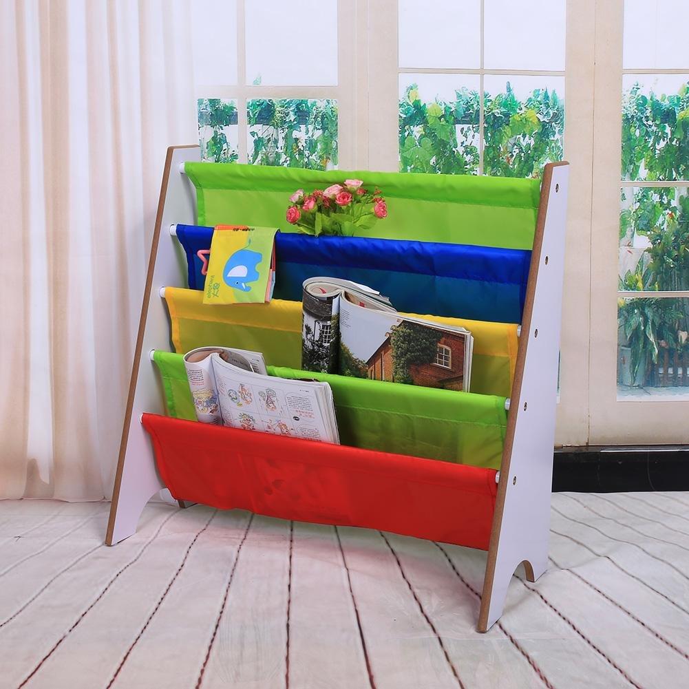 Muebles para Niños Librería Estantería Infantil Estante de Almacenamiento de Juguetes Multicolor Estantería de Madera con Bolsillo (Marco Blanco+Bolsillo Multicolor)