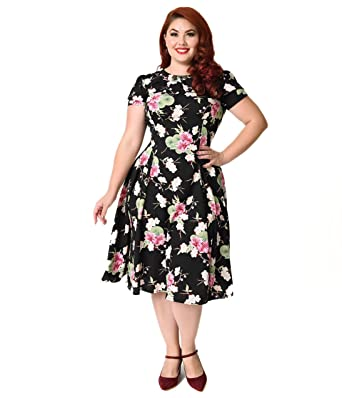Hell Bunny Plus Size Black Floral Freya Swing Dress At Amazon